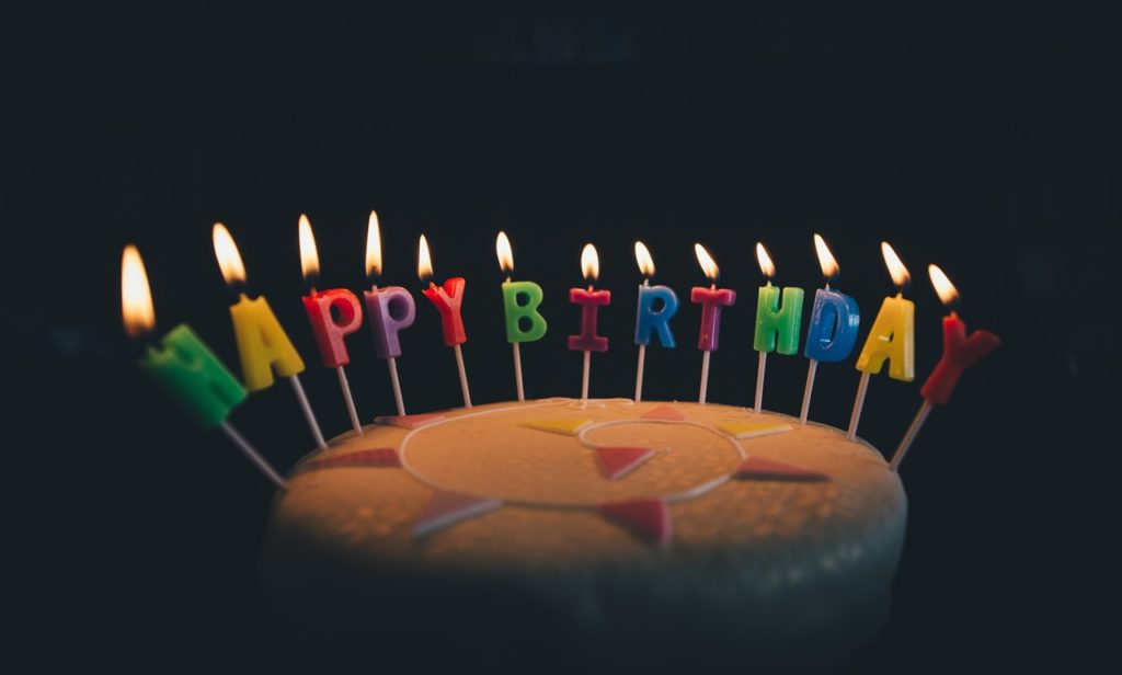 Birthday cake with lighted candles saying Happy Birthday in the dark