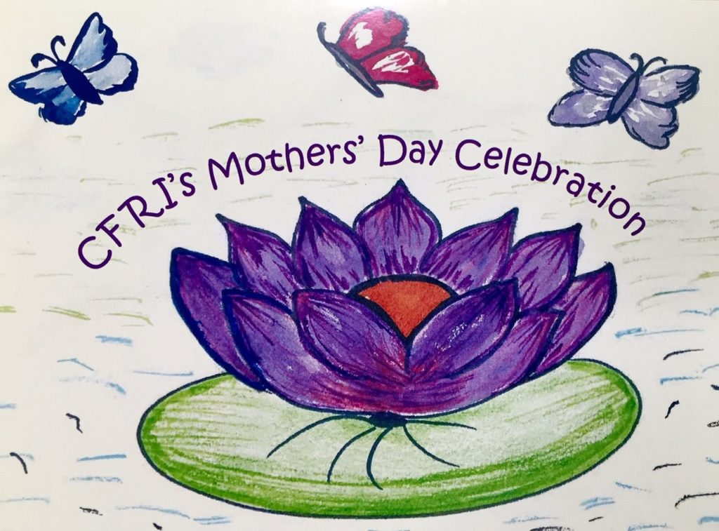 Mother's Day Celebration text with butterflies and a waterlily